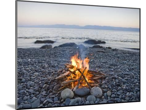 Beach Fire on the Shores of Vancouver Island-Taylor S^ Kennedy-Mounted Photographic Print