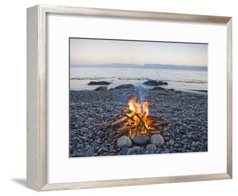 Beach Fire on the Shores of Vancouver Island-Taylor S^ Kennedy-Framed Art Print