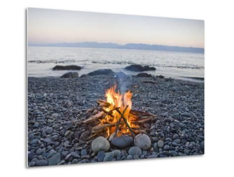 Beach Fire on the Shores of Vancouver Island-Taylor S^ Kennedy-Metal Print