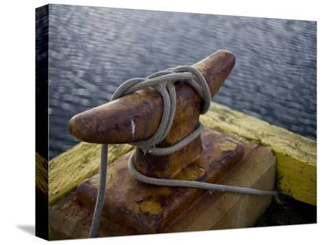 Rope Is Wound around an Iron Mooring-Hannele Lahti-Stretched Canvas Print