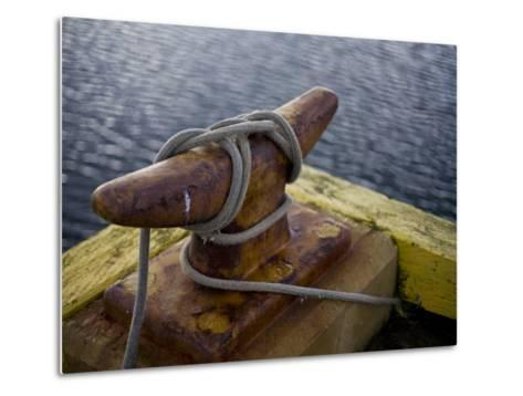 Rope Is Wound around an Iron Mooring-Hannele Lahti-Metal Print