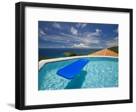 Blue Raft Floats in a Pool Overlooking the Caribbean Sea-Michael Melford-Framed Art Print