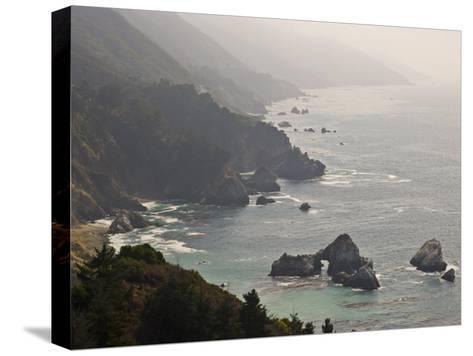 Famous View of the Coast Along Route 1 in Big Sur-Michael Melford-Stretched Canvas Print