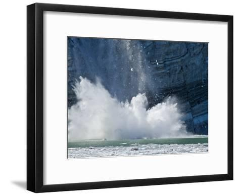 Johns Hopkins Glacier Calving at Glacier Bay National Park-Michael Melford-Framed Art Print
