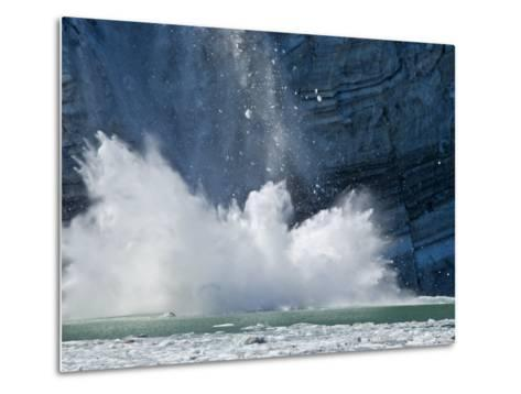 Johns Hopkins Glacier Calving at Glacier Bay National Park-Michael Melford-Metal Print
