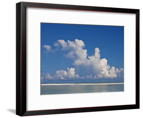 View of a White Beach, Ocean and Sky in the Seychelles-Michael Melford-Framed Art Print