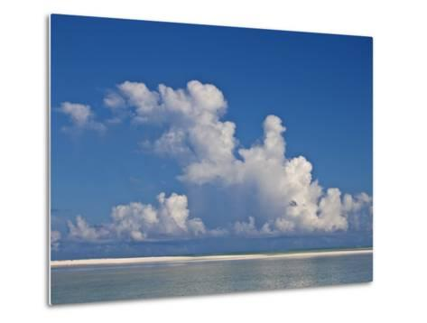 View of a White Beach, Ocean and Sky in the Seychelles-Michael Melford-Metal Print