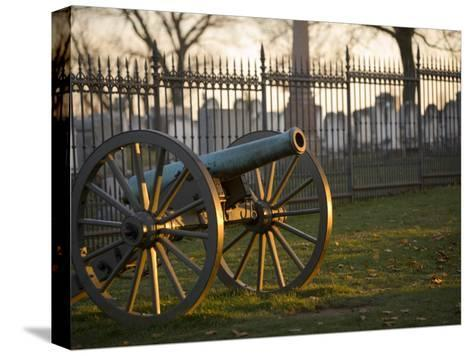 Cannon Outside the Fence at Gettysburg National Cemetery-Michael Melford-Stretched Canvas Print