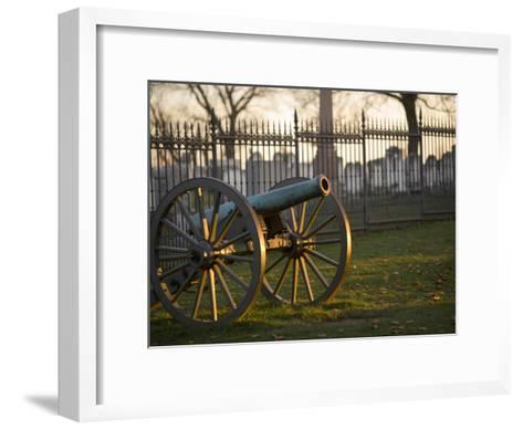 Cannon Outside the Fence at Gettysburg National Cemetery-Michael Melford-Framed Art Print