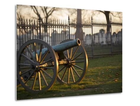 Cannon Outside the Fence at Gettysburg National Cemetery-Michael Melford-Metal Print
