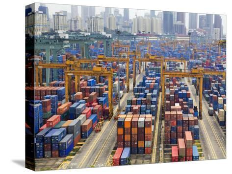 Containers Stacked Together at the Port of Singapore Authority-xPacifica-Stretched Canvas Print