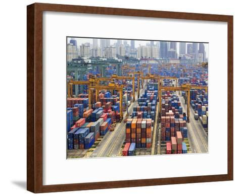 Containers Stacked Together at the Port of Singapore Authority-xPacifica-Framed Art Print