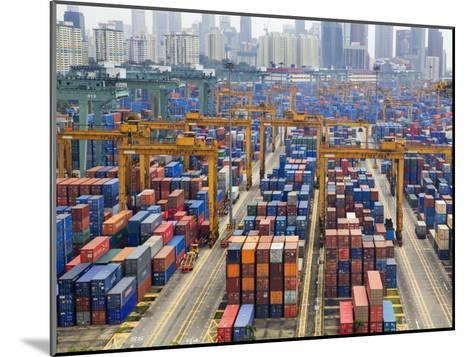 Containers Stacked Together at the Port of Singapore Authority-xPacifica-Mounted Photographic Print