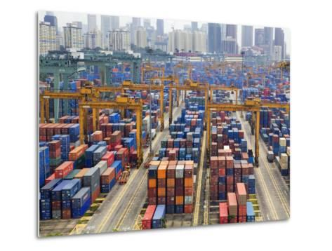 Containers Stacked Together at the Port of Singapore Authority-xPacifica-Metal Print