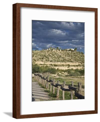 Texas, Western Themed Brewster County. Log Fence in Desert-Richard Nowitz-Framed Art Print