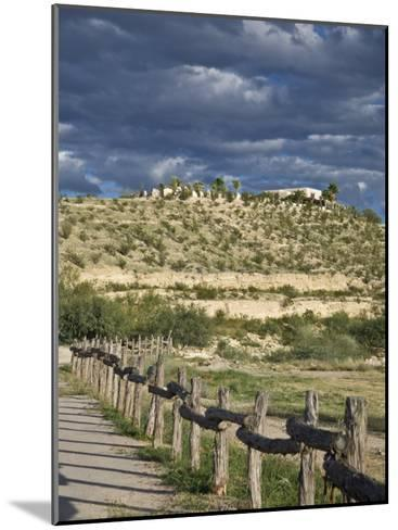 Texas, Western Themed Brewster County. Log Fence in Desert-Richard Nowitz-Mounted Photographic Print