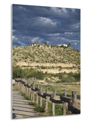 Texas, Western Themed Brewster County. Log Fence in Desert-Richard Nowitz-Metal Print