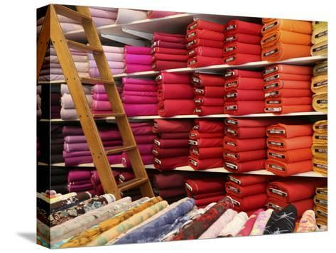 Bolts of Fabric on the First Floor of a Fabric Store on Union Square-Richard Nowitz-Stretched Canvas Print