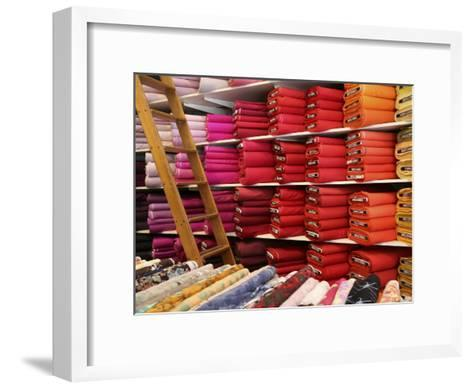 Bolts of Fabric on the First Floor of a Fabric Store on Union Square-Richard Nowitz-Framed Art Print