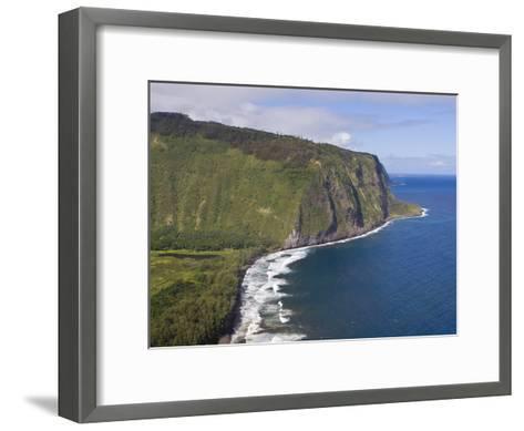 Waipio Valley and Large Coastal Cliffs on Hawaii-Mike Theiss-Framed Art Print