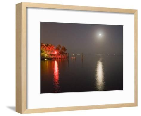 Full Moon and Red Light Reflecting in Water in a Tropical Setting-Mike Theiss-Framed Art Print