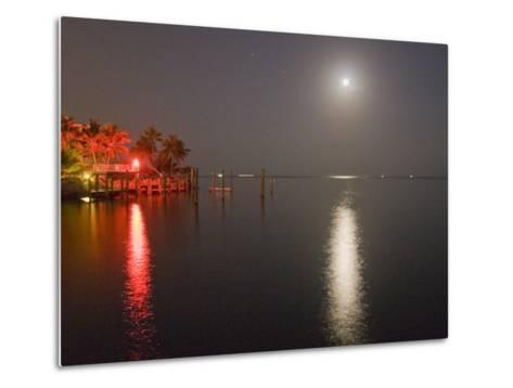 Full Moon and Red Light Reflecting in Water in a Tropical Setting-Mike Theiss-Metal Print