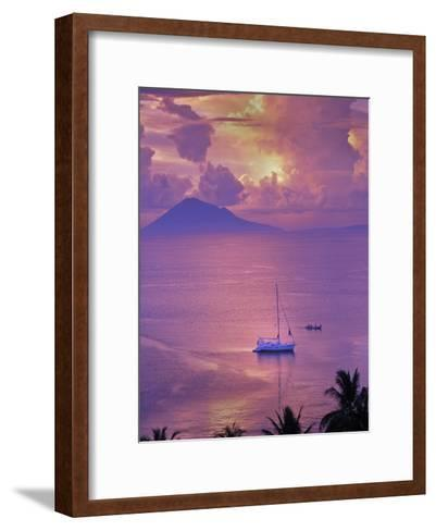 Sailboat Anchored in the Pacific Ocean at Sunset Off the Manado Coast-Greg Dale-Framed Art Print