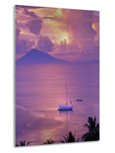 Sailboat Anchored in the Pacific Ocean at Sunset Off the Manado Coast-Greg Dale-Metal Print