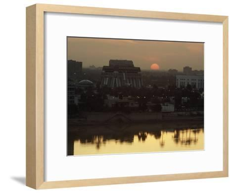 Baghdad and the Tigris River at Sunset-Lynn Abercrombie-Framed Art Print