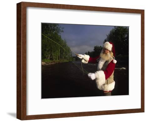Santa Claus Fly Fishing-Michael Melford-Framed Art Print
