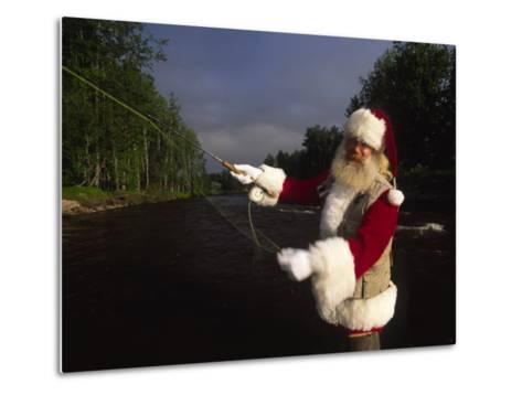 Santa Claus Fly Fishing-Michael Melford-Metal Print