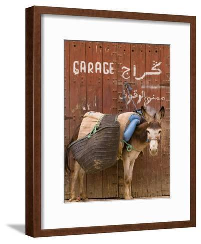 """Mule Parked in Front of a Sign That Reads """"Garage""""-Abraham Nowitz-Framed Art Print"""