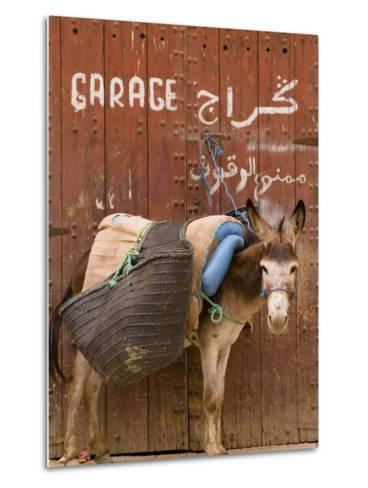 """Mule Parked in Front of a Sign That Reads """"Garage""""-Abraham Nowitz-Metal Print"""