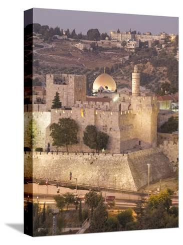 Dome of the Rock with Tower of David Museum, at Jaffe Gate in Jerusalem's Old City-Richard Nowitz-Stretched Canvas Print