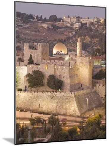 Dome of the Rock with Tower of David Museum, at Jaffe Gate in Jerusalem's Old City-Richard Nowitz-Mounted Photographic Print