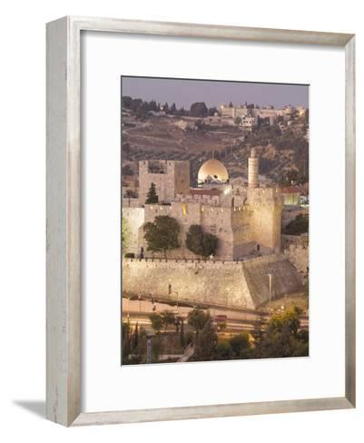 Dome of the Rock with Tower of David Museum, at Jaffe Gate in Jerusalem's Old City-Richard Nowitz-Framed Art Print