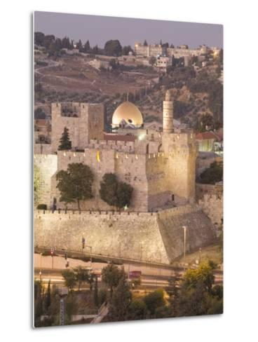 Dome of the Rock with Tower of David Museum, at Jaffe Gate in Jerusalem's Old City-Richard Nowitz-Metal Print