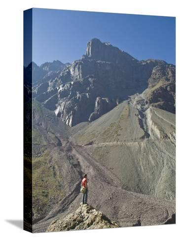 Hiking in El Morado Natural Monument in Chile's Andes Mountains-Richard Nowitz-Stretched Canvas Print