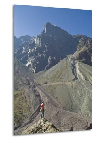 Hiking in El Morado Natural Monument in Chile's Andes Mountains-Richard Nowitz-Metal Print