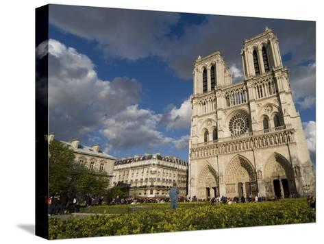 Tourists Gathered Outside the Notre Dame Cathedral-Richard Nowitz-Stretched Canvas Print