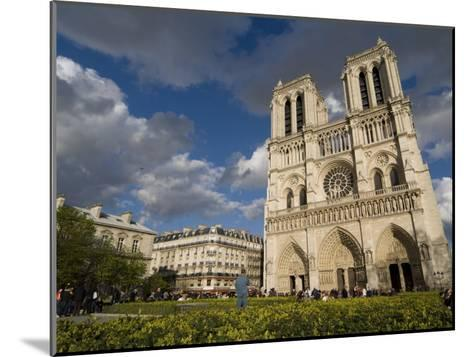 Tourists Gathered Outside the Notre Dame Cathedral-Richard Nowitz-Mounted Photographic Print