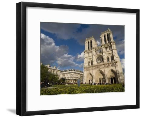 Tourists Gathered Outside the Notre Dame Cathedral-Richard Nowitz-Framed Art Print