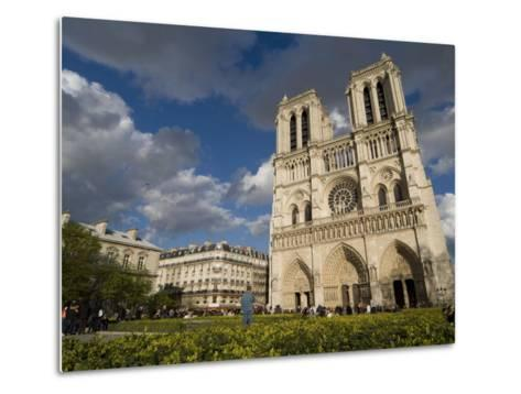 Tourists Gathered Outside the Notre Dame Cathedral-Richard Nowitz-Metal Print