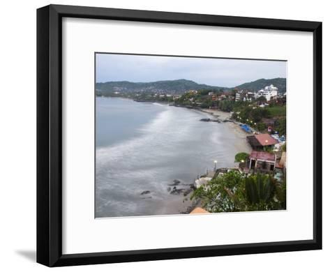 Waves Washing on the Beach in Zihuatanejo Bay Viewed from a Hotel-Rich Reid-Framed Art Print