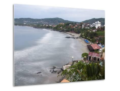 Waves Washing on the Beach in Zihuatanejo Bay Viewed from a Hotel-Rich Reid-Metal Print