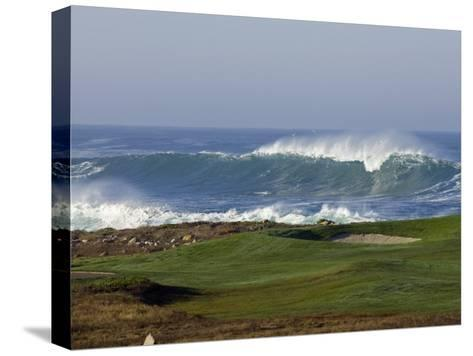 Waves Off Point Joe and Golf Course Green on Seventeen Mile Drive-Rich Reid-Stretched Canvas Print