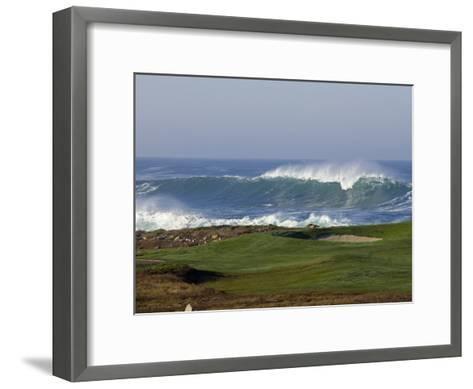 Waves Off Point Joe and Golf Course Green on Seventeen Mile Drive-Rich Reid-Framed Art Print
