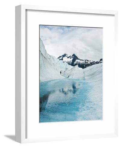 Tourist Trek Past Glacial Meltwater Pond on Mendenhall Glacier-James Forte-Framed Art Print