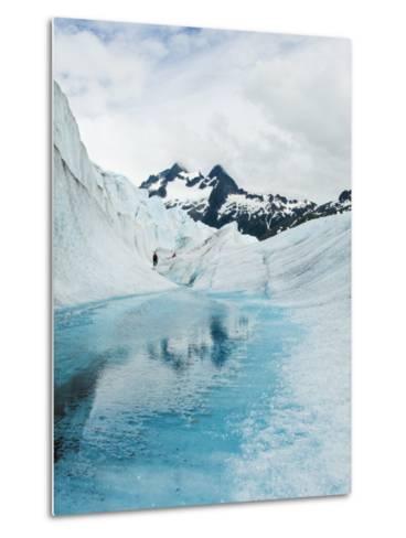 Tourist Trek Past Glacial Meltwater Pond on Mendenhall Glacier-James Forte-Metal Print