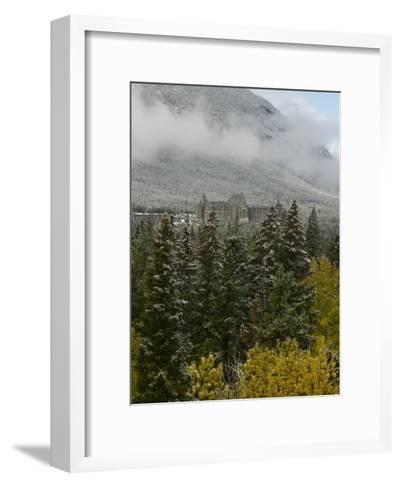 Early Snow Dusts Fall Colored Trees Surrounding Famed Banff Springs Hotel-Gordon Wiltsie-Framed Art Print